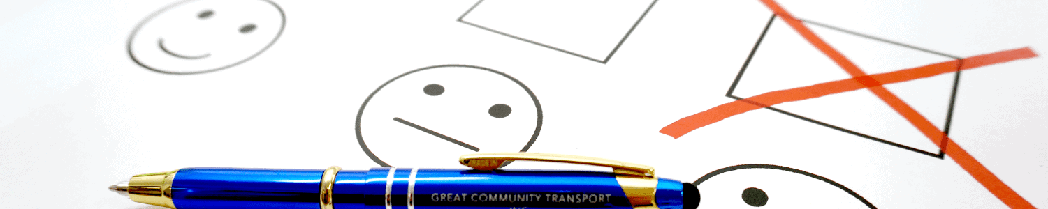 image of a great community transport pen on a feedback form