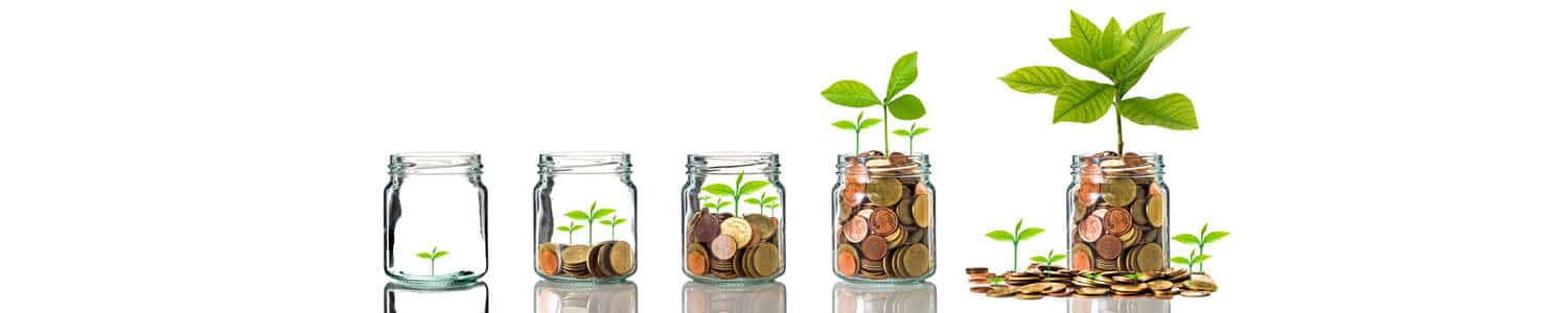 image of successive jars with money and growing plants